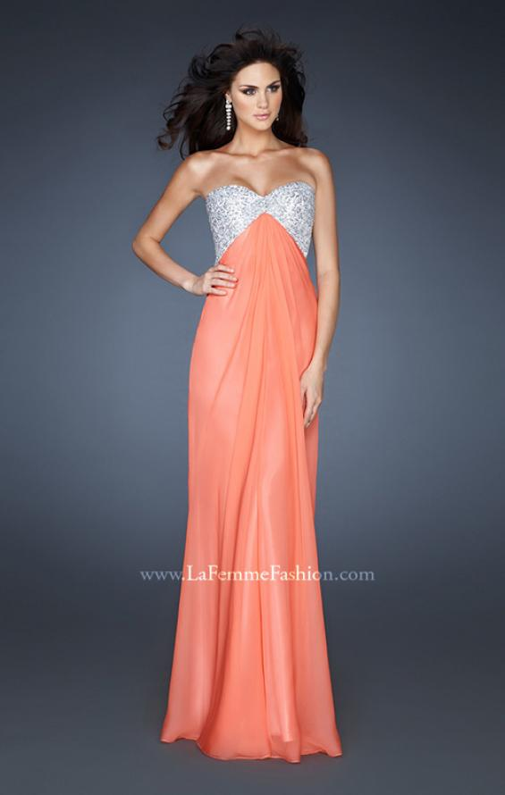 Picture of: Sequined Bodice Prom Dress with Cut Out Back in Orange, Style: 18313, Detail Picture 3