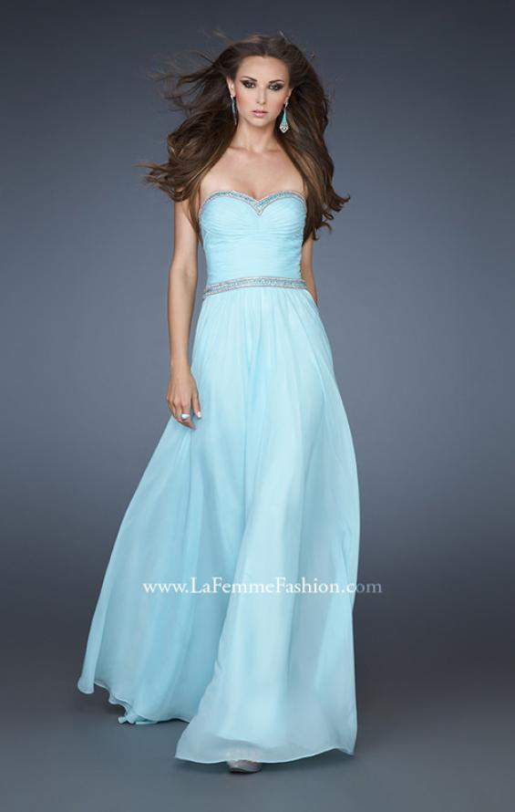 Picture of: Chiffon Prom Gown with Pleats, Sequins, and Rhinestones, Style: 18325, Main Picture