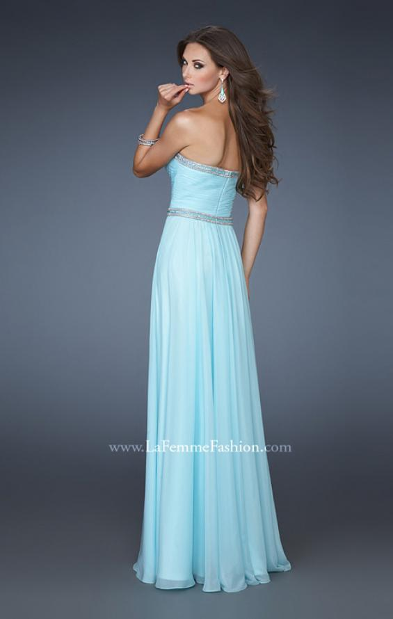 Picture of: Chiffon Prom Gown with Pleats, Sequins, and Rhinestones, Style: 18325, Back Picture