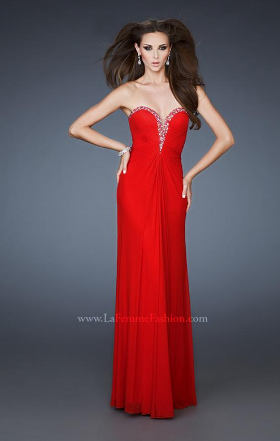Picture of: Pleated Net Prom Gown with Rhinestone Bodice, Style: 18331, Detail Picture 1