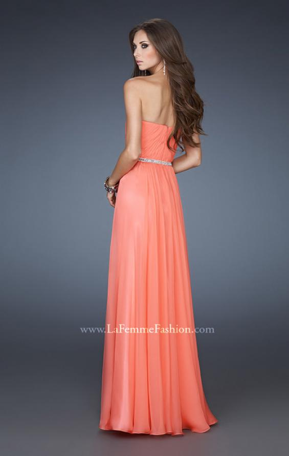 Picture of: Simple Strapless Chiffon Dress with Beaded Waist, Style: 18332, Back Picture