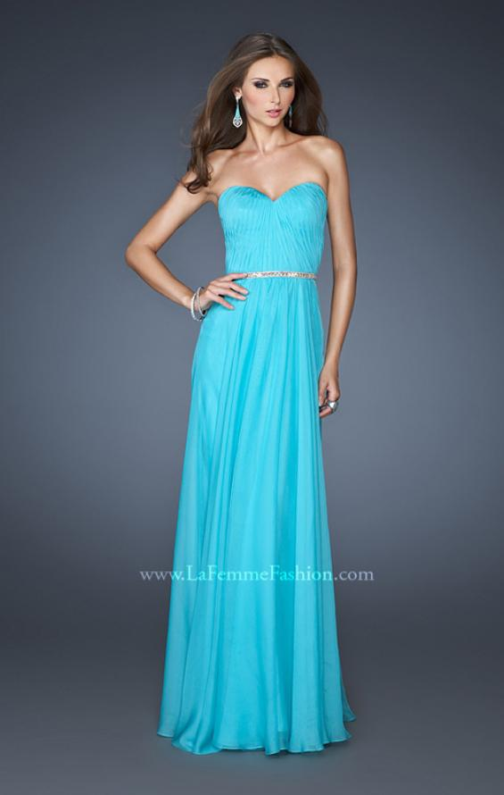 Picture of: Simple Strapless Chiffon Dress with Beaded Waist, Style: 18332, Detail Picture 1