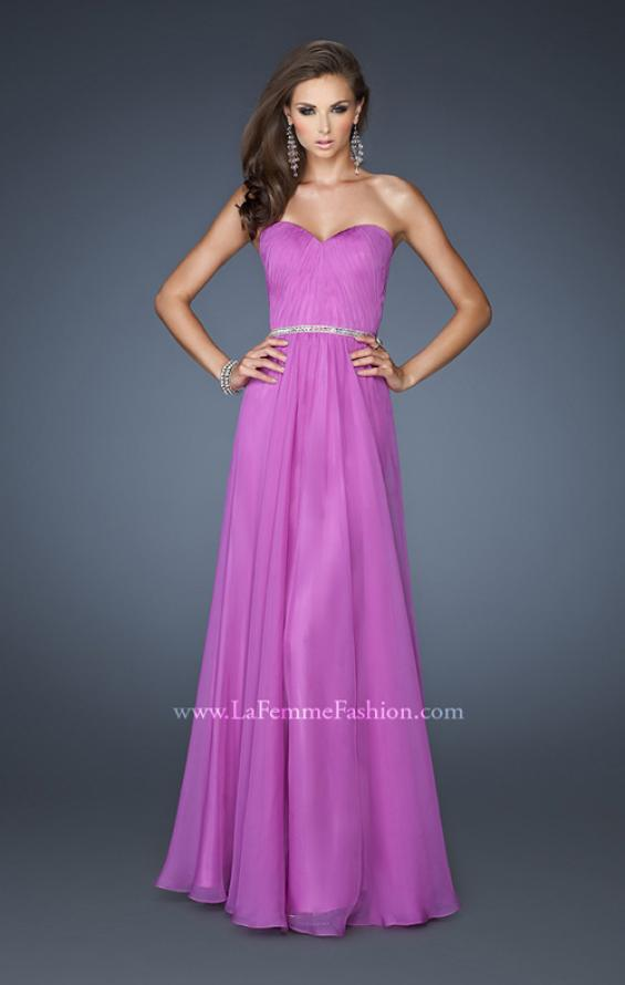Picture of: Simple Strapless Chiffon Dress with Beaded Waist, Style: 18332, Detail Picture 2