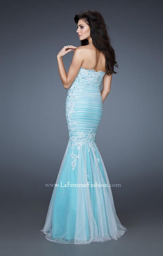 Picture of: Elegant Net Gown with Ruched Bodice and Trumpet Skirt, Style: 18365, Back Picture