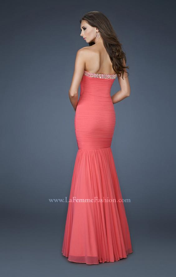 Picture of: Strapless Mermaid Gown with Rhinestone Neckline, Style: 18366, Back Picture