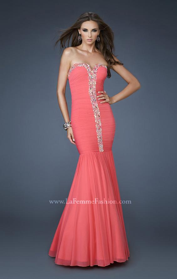 Picture of: Strapless Mermaid Gown with Rhinestone Neckline, Style: 18366, Detail Picture 1