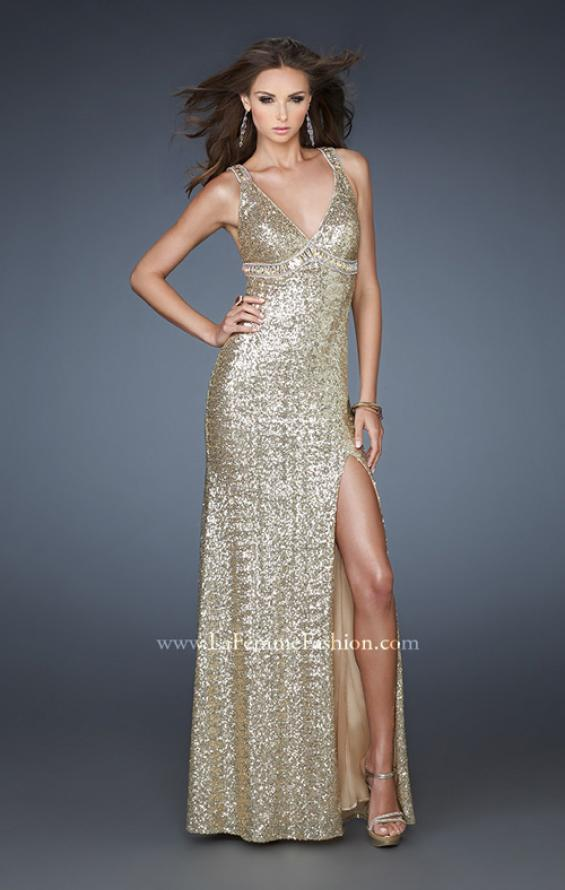 Picture of: Sequin Prom Gown with High Front Slit and Cut Outs, Style: 18373, Back Picture