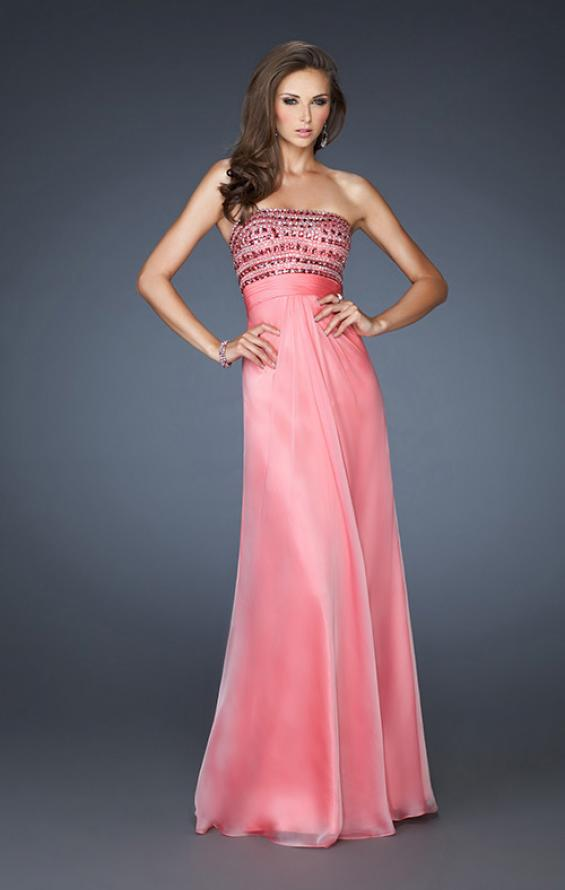 Picture of: A-line Beaded One Shoulder Prom Dress with Ruching in Pink, Style: 18379, Main Picture