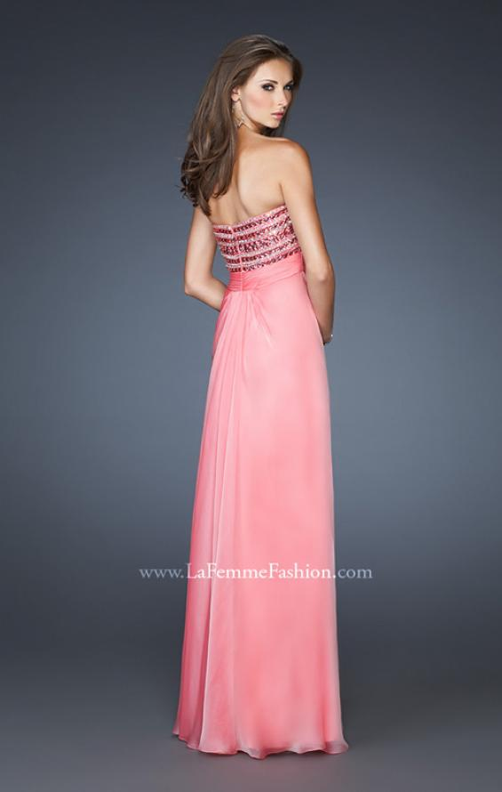 Picture of: A-line Beaded One Shoulder Prom Dress with Ruching in Pink, Style: 18379, Back Picture