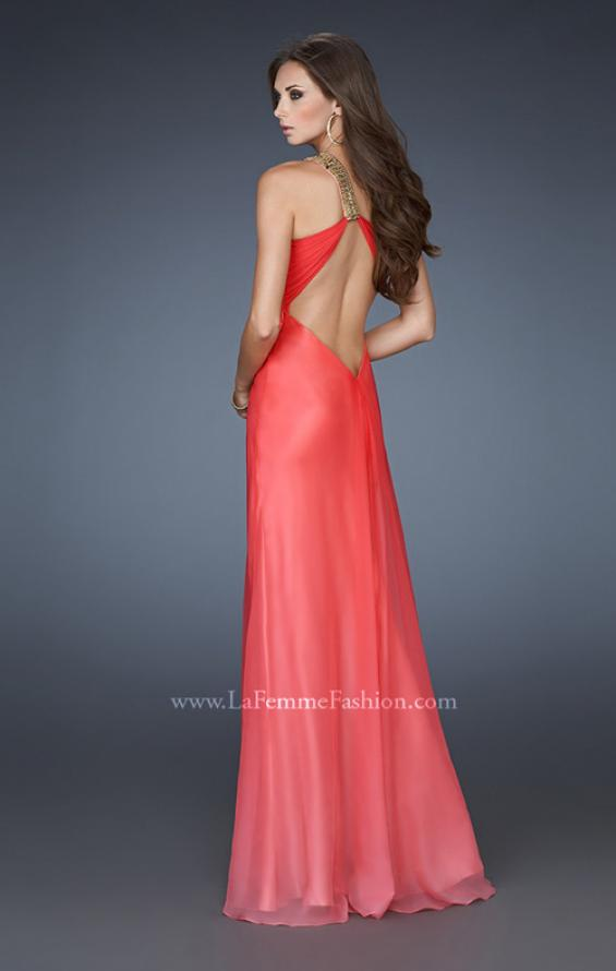 Picture of: One Shoulder Prom Dress with High Front Slit and Beads in Orange, Style: 18398, Back Picture