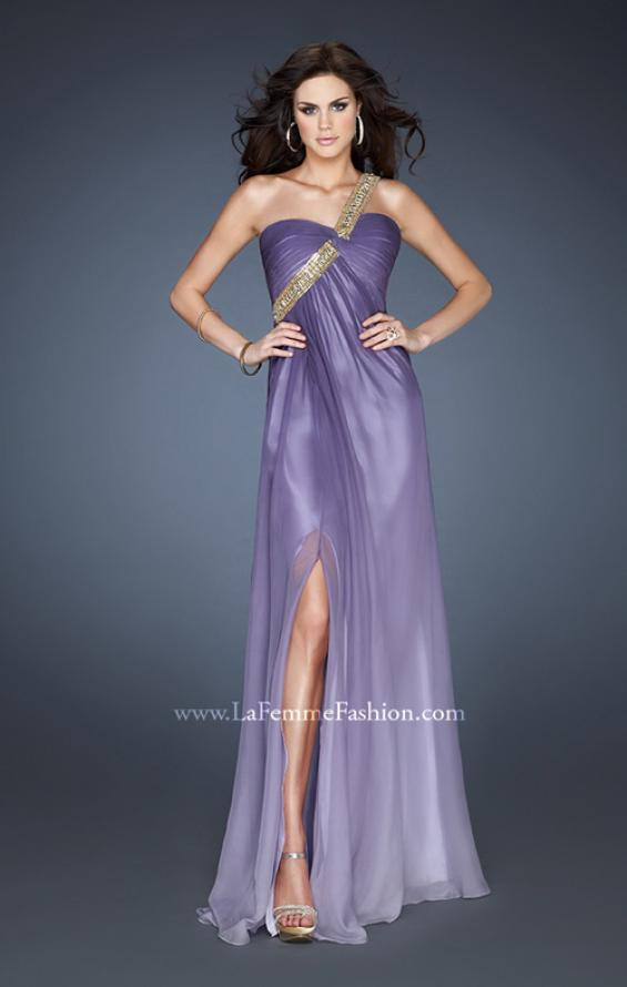 Picture of: One Shoulder Prom Dress with High Front Slit and Beads in Purple, Style: 18398, Detail Picture 1