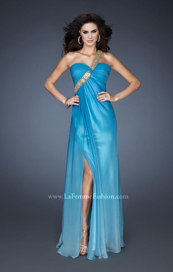 Picture of: One Shoulder Prom Dress with High Front Slit and Beads in Blue, Style: 18398, Detail Picture 2