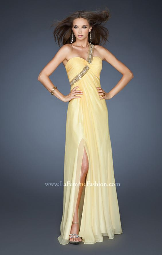 Picture of: One Shoulder Prom Dress with High Front Slit and Beads in Yellow, Style: 18398, Detail Picture 3