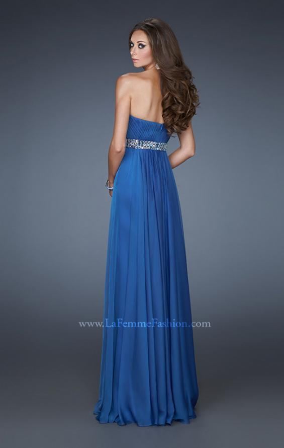 Picture of: A-line Chiffon Gown with Pleated Bodice and Empire Waist in Blue, Style: 18401, Back Picture