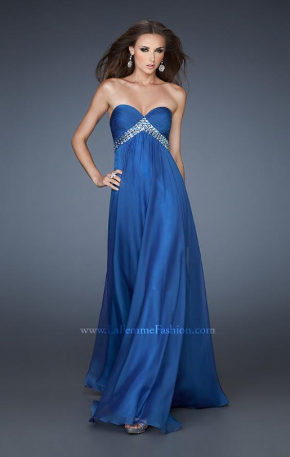Picture of: A-line Chiffon Gown with Pleated Bodice and Empire Waist in Blue, Style: 18401, Detail Picture 1