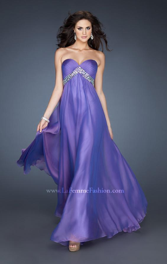 Picture of: A-line Chiffon Gown with Pleated Bodice and Empire Waist in Purple, Style: 18401, Detail Picture 2