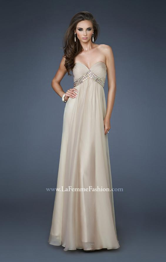 Picture of: A-line Chiffon Gown with Pleated Bodice and Empire Waist in Nude, Style: 18401, Detail Picture 3