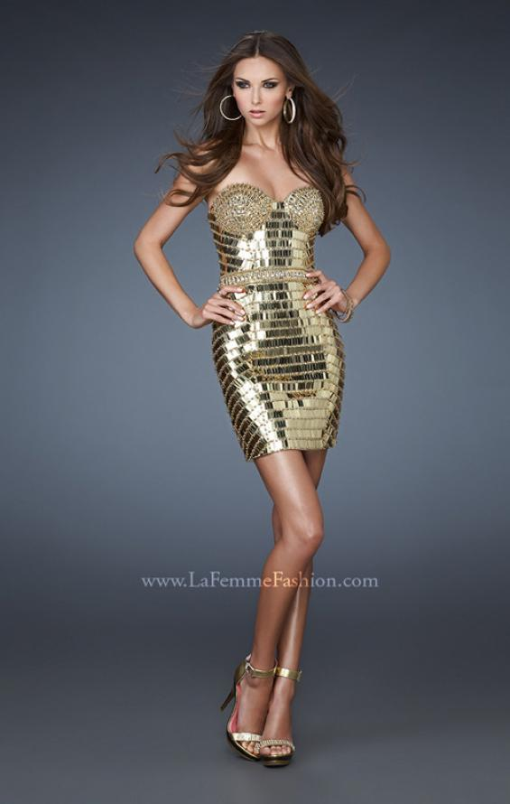Picture of: Short Cocktail Dress with All Over Beading and Sequins in Gold, Style: 18413, Main Picture