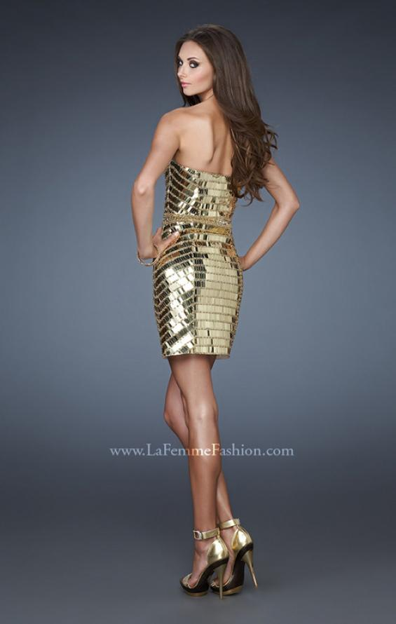 Picture of: Short Cocktail Dress with All Over Beading and Sequins in Gold, Style: 18413, Back Picture
