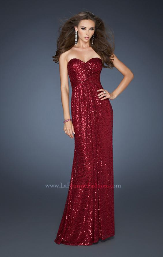 Picture of: Sequin Prom Gown Gathered Sweetheart Neckline, Style: 18414, Back Picture