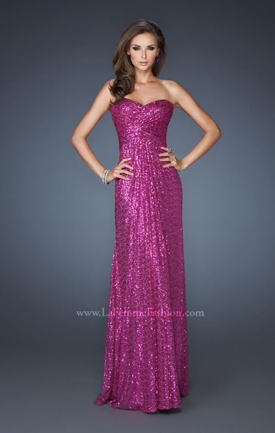 Picture of: Sequin Prom Gown Gathered Sweetheart Neckline, Style: 18414, Detail Picture 1