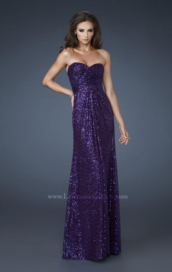 Picture of: Sequin Prom Gown Gathered Sweetheart Neckline, Style: 18414, Detail Picture 2