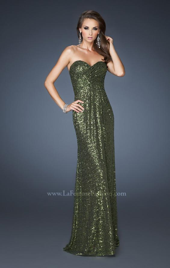 Picture of: Sequin Prom Gown Gathered Sweetheart Neckline, Style: 18414, Detail Picture 4