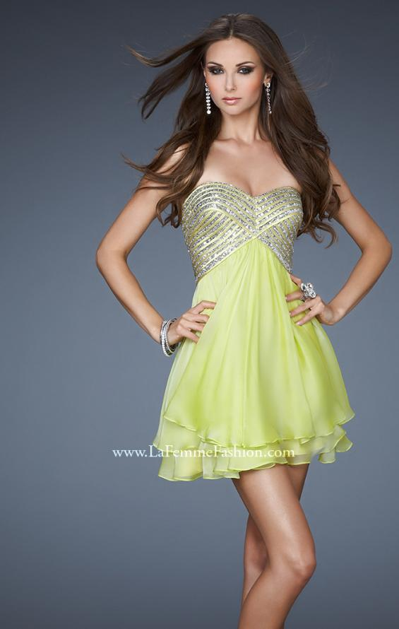Picture of: Flirty Cocktail Dress with Layered Chiffon Skirt, Style: 18418, Main Picture