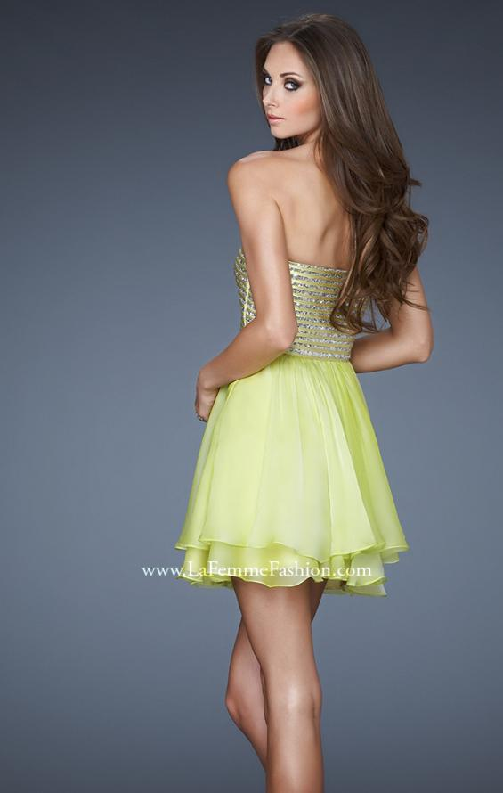 Picture of: Flirty Cocktail Dress with Layered Chiffon Skirt, Style: 18418, Back Picture