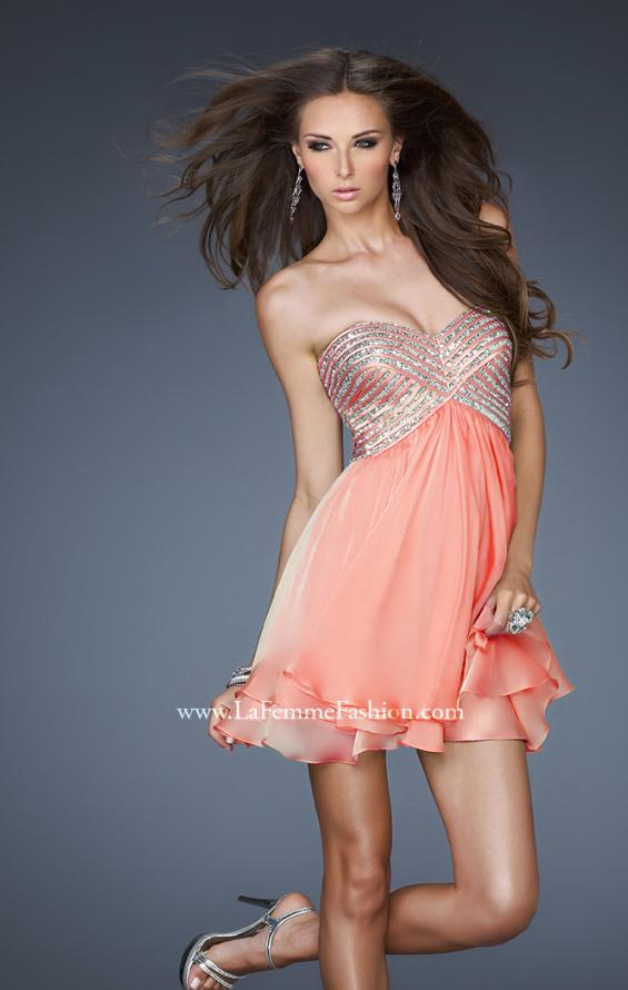 Picture of: Flirty Cocktail Dress with Layered Chiffon Skirt, Style: 18418, Detail Picture 1