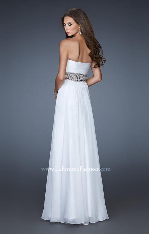 Picture of: Strapless Chiffon Gown with Beaded and Sequin Design in White, Style: 18420, Back Picture