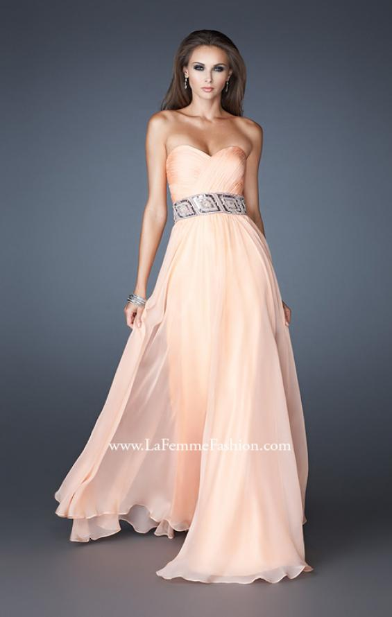 Picture of: Strapless Chiffon Gown with Beaded and Sequin Design in Orange, Style: 18420, Detail Picture 1