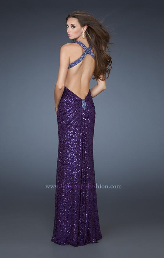 Picture of: Sequined Gown with Beaded Halter Neck and Diamond Back in Purple, Style: 18421, Main Picture