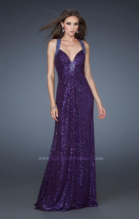 Picture of: Sequined Gown with Beaded Halter Neck and Diamond Back in Purple, Style: 18421, Back Picture
