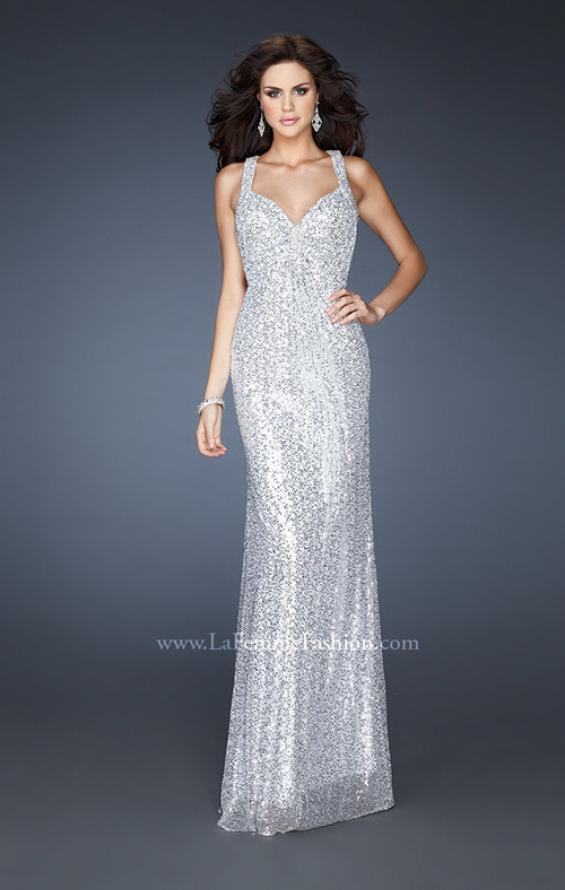 Picture of: Sequined Gown with Beaded Halter Neck and Diamond Back in Silver, Style: 18421, Detail Picture 1