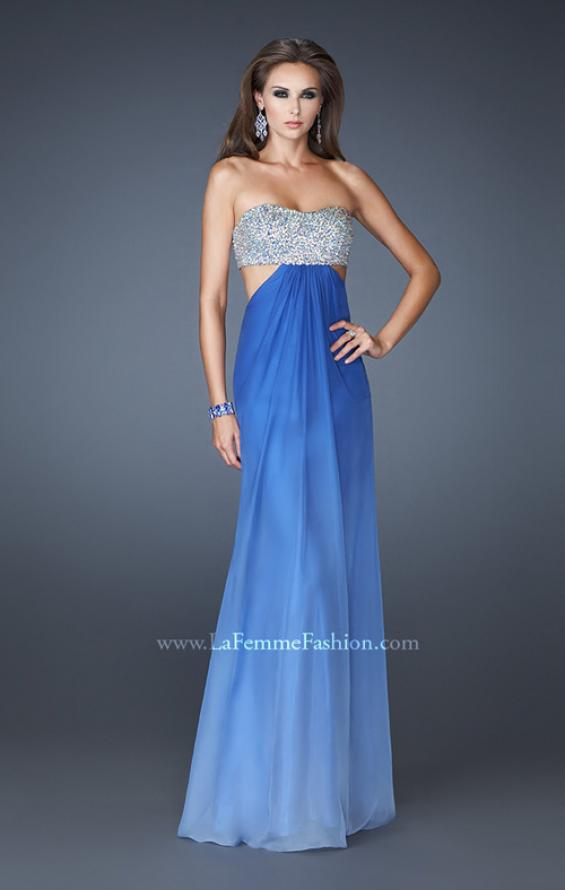 Picture of: Strapless Chiffon Dress with Beaded Bodice and Cut Outs, Style: 18429, Main Picture