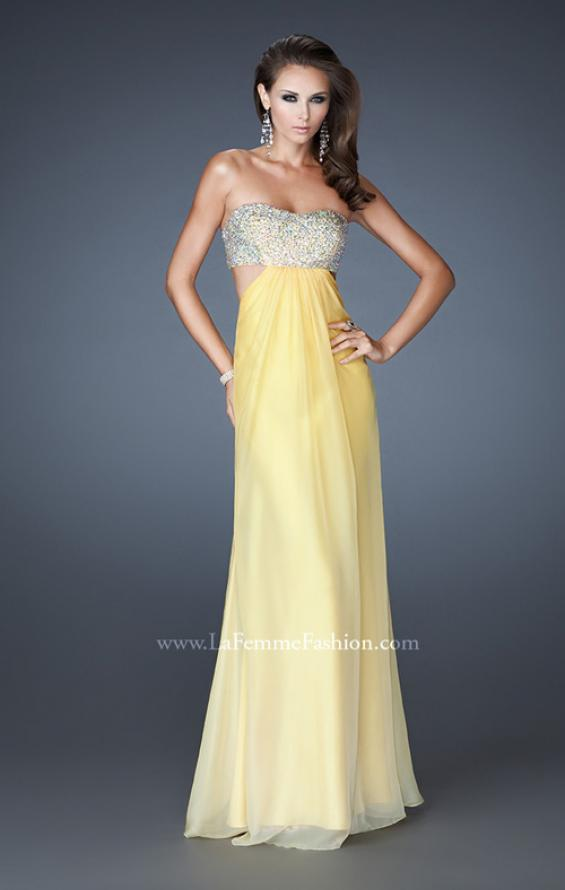 Picture of: Strapless Chiffon Dress with Beaded Bodice and Cut Outs, Style: 18429, Detail Picture 1