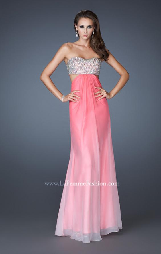 Picture of: Strapless Chiffon Dress with Beaded Bodice and Cut Outs, Style: 18429, Detail Picture 3