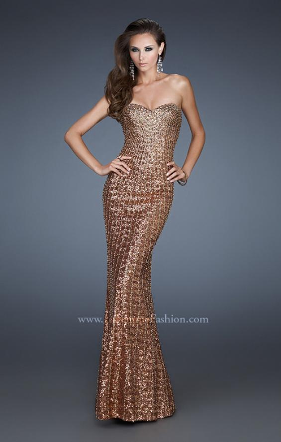 Picture of: Sequined Prom Gown with Rhinestone Bodice and Beads in Gold, Style: 18431, Main Picture