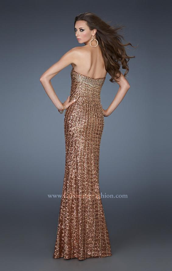 Picture of: Sequined Prom Gown with Rhinestone Bodice and Beads in Gold, Style: 18431, Back Picture