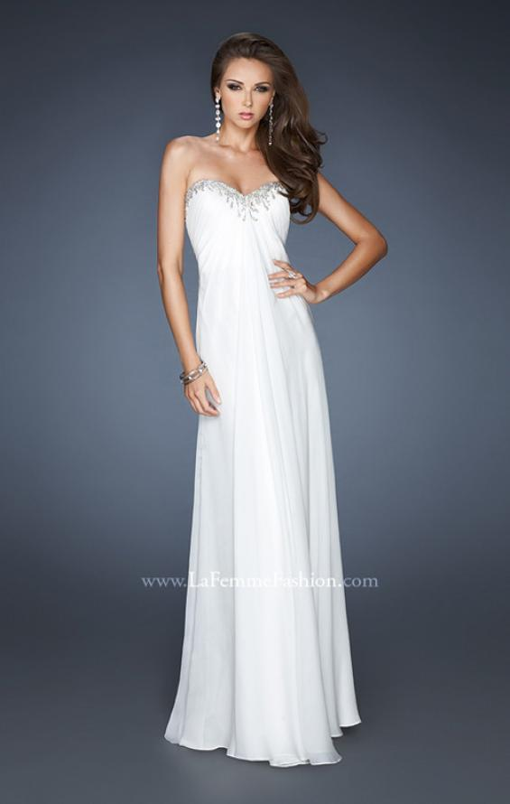 Picture of: Long A-line Prom Dress with Gathers and Stone Detail in White, Style: 18435, Main Picture