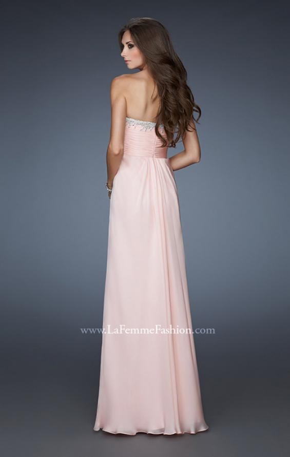 Picture of: Long A-line Prom Dress with Gathers and Stone Detail in Pink, Style: 18435, Back Picture