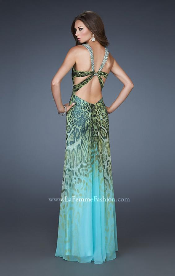 Picture of: Chiffon Dress with Ombre Animal Print and Strappy Back, Style: 18436, Back Picture