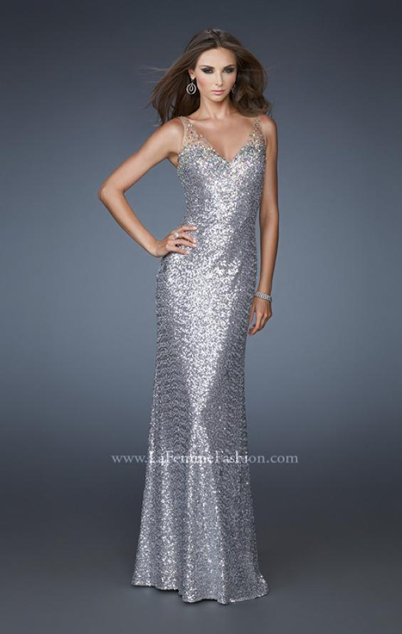 Picture of: V Neck Sequined Gown with Sheer Straps and Stones, Style: 18440, Main Picture