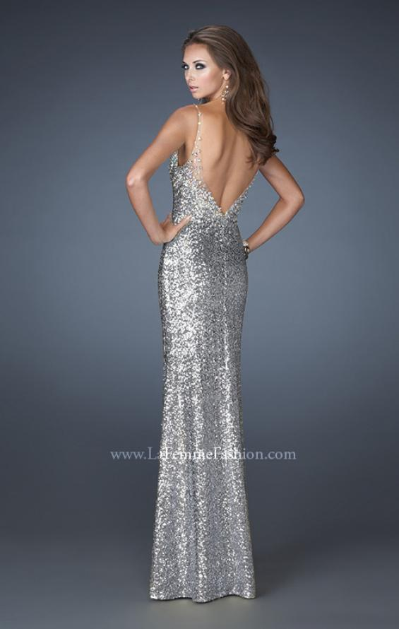 Picture of: V Neck Sequined Gown with Sheer Straps and Stones, Style: 18440, Back Picture