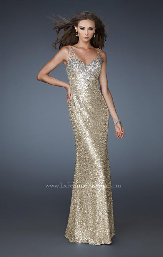 Picture of: V Neck Sequined Gown with Sheer Straps and Stones, Style: 18440, Detail Picture 1