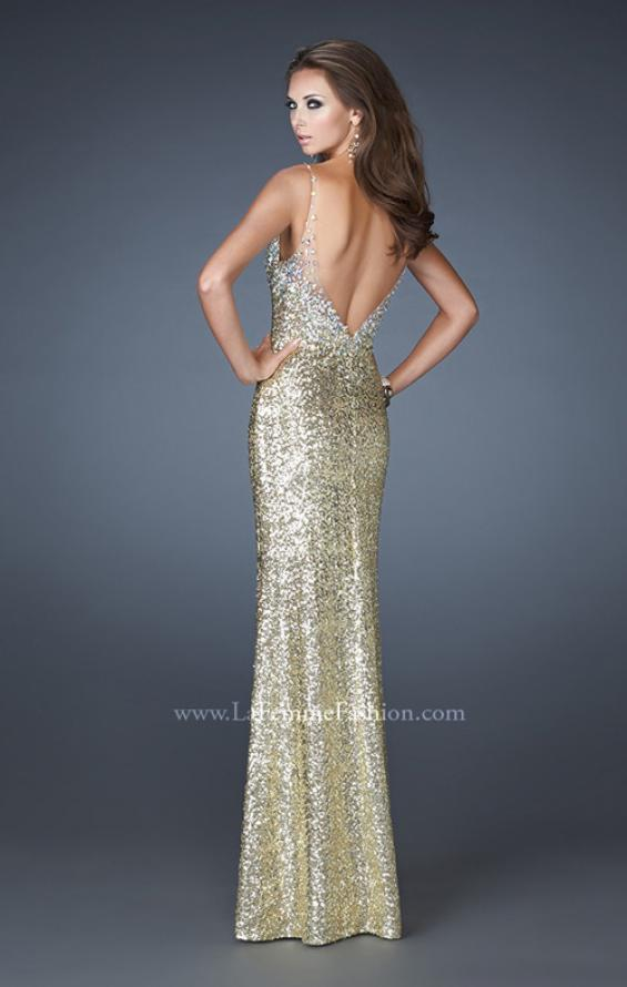 Picture of: V Neck Sequined Gown with Sheer Straps and Stones, Style: 18440, Detail Picture 3