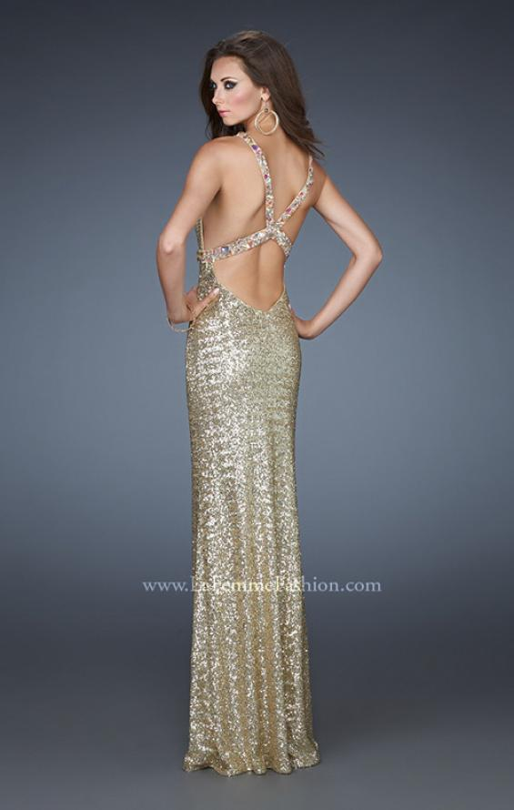 Picture of: V Neck Prom Dress with Open Back and Rhinestones in Gold, Style: 18441, Back Picture
