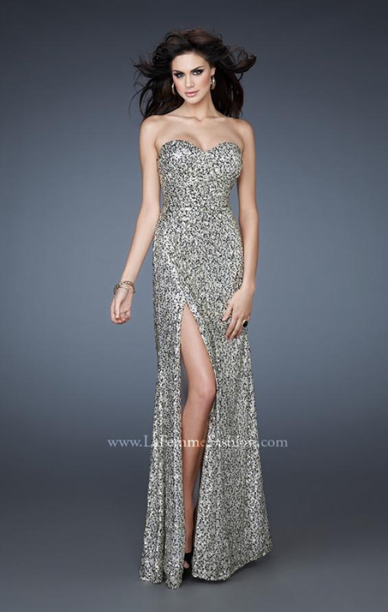 Picture of: Glam Sequined Gown with High Front Slit and Gathers, Style: 18443, Main Picture