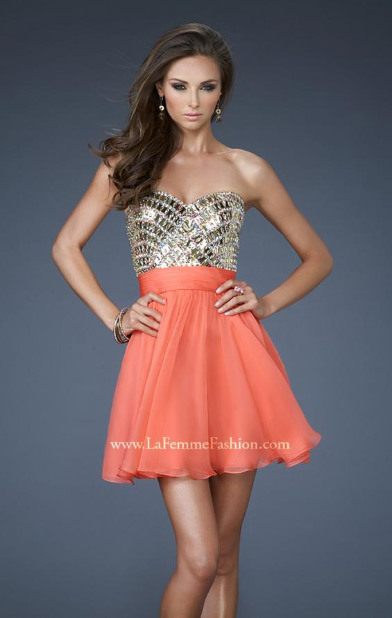 Picture of: Sweetheart Neckline Cocktail Dress with Beaded Bodice in Orange, Style: 18445, Main Picture